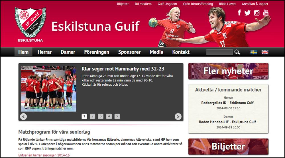 Eskilstuna Guifs nya webbplats